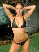 Water Fall - Brown Studded Bikini - Front View - Professional Tan Model — Stock Photo