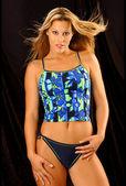 Blue Flowered Two Piece Bikini - Black Background - Catalog Style - Blond-Brunette Model — Stock Photo