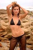 Two Piece String Bikini - Black - Sheer Pant Cove - Professional Brunette Model — Stock Photo