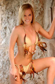 Custom Leather Brown and Tan Feathered String Bikini - Front View — Stock Photo