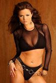 Black Sheer Top - Black Bra and Panties - Jewelry Sets — Stock Photo