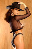 Implied Topless - Black Cowboy Hat - Black Sheer Top - Sexy Panties — Stock Photo