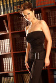Black Business Pant Suit - Stunning Published Model - Brittney Godwin — 图库照片