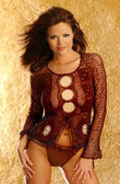 Brown Knit Top - Sleek Brown String Tie Bottoms - Front and Side Views — Stockfoto