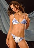 Blue Print White Skimpy Bikini — ストック写真