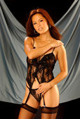 Black Sheer  Lace Lingerie - Thong Panty — Stock Photo