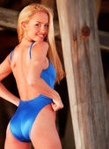 Blue One Piece Swimsuit - One Stunning Blond - Back View - Serveal Looks — Stock Photo