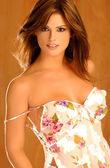 Playboy modell laura croft - tan bakgrund - framifrån — Stockfoto