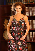 Playboy Model Laura Croft - Black and Red Flowered Dress - Law Office Backgound — Stock Photo