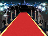 Red carpet, photographers, driver and a luxury car — Stock Photo