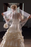 Back of bride in wedding dress. — Stock Photo