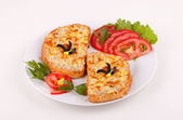 Sandwiches with minced meat — Stock Photo