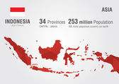 Indonesia world map with a pixel diamond texture. — Vettoriale Stock