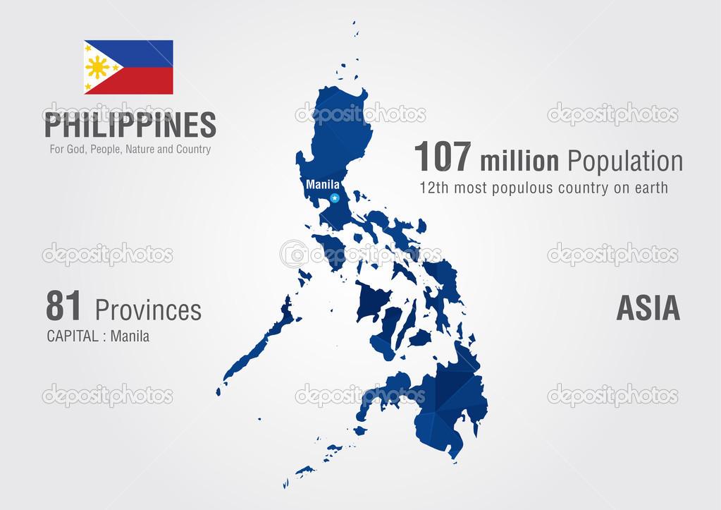 菲律宾世界地图与像素钻石纹理.世界地理– 图库插图