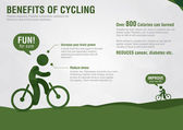 Info Graphic benefits of cycling with a pixel diamond texture. — 图库矢量图片