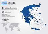 Greece world map with a pixel diamond texture. — Stock Vector