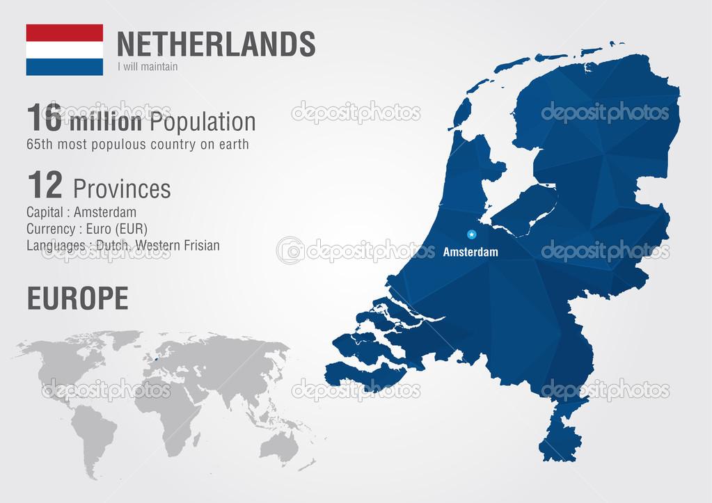 荷兰世界地图与像素钻石纹理.世界地理– 图库插图