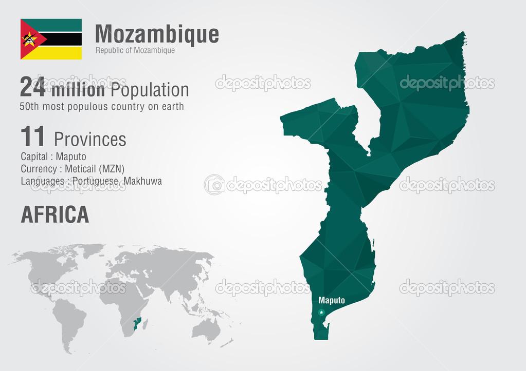 莫桑比克与像素钻石纹理的世界地图.世界地理— vector by kameonline