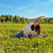 Girl engaged in yoga in the morning, in nature — Stock Photo #50309229