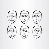 Men faces emotions symbols — Stockvektor