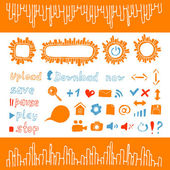 Collection of hand draw icons and buttons web design elements orange color — Stock Vector