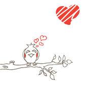 Love bird on branch — Stock Vector