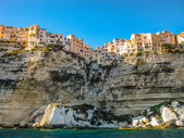 Corsica, France, skyline of Bonifacio from the sea — Stock Photo