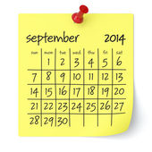 September 2014 - Calendar — Stock Photo