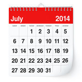 July 2014 - Calendar — Stock Photo