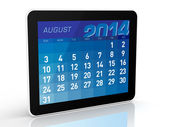 August 2014 - Tablet Calendar — Stock Photo