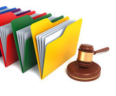 Multicolor Folders with Gavel — Stock Photo