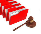Red Folders with Gavel — Stock Photo
