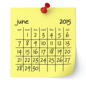 June 2015 - Calendar — Stock Photo