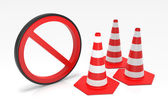 Traffic Cones with Forbidden Sign — Stock Photo