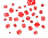 Red Dice Explosion — Stock Photo