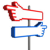 Blank Pixel Hand Signpost — Stock Photo