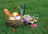 Picnic basket with wine, bread, vegetables — Stock Photo