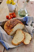 Homemade no knead bread on wooden background — Stock Photo