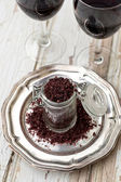 Red wine sea salt in a jar — Stock Photo