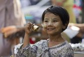 Young Bells seller in the street — Stock Photo