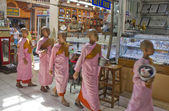 Girl monk in a row — Stockfoto