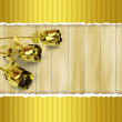 Greeting card with golden roses on wooden background — Stock Photo #50090277