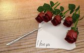 Love message with vintage paper and pen — Stockfoto