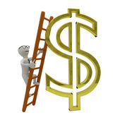 White business man climbs the ladder to gold dollar symbol — Stock Photo