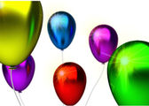 Birthday background with glossy color party ballons — Stockfoto