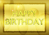 Birthday card with golden party ballons on background — Stock Photo