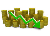 Declining costs - 3D finance graph - currency and green arrow — Stock Photo