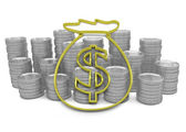 Golden hoard of money icon with coins on background — Stock Photo