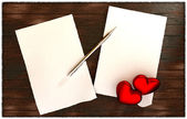 Romantic message on wooden table template — Stockfoto