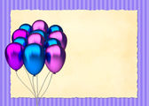 Blue and purple birthday balloons — Stock Photo